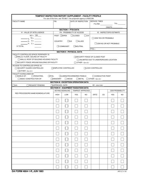 DA Form 4664-1-r Fillable Pdf