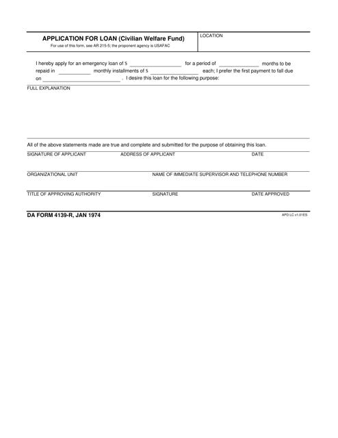 DA Form 4139-r  Printable Pdf