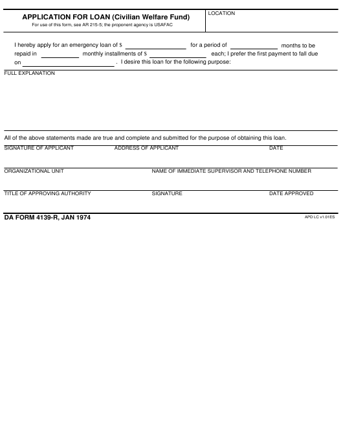 DA Form 4139-r  Fillable Pdf