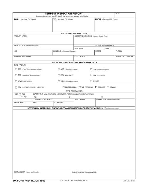DA Form 4664-r  Fillable Pdf