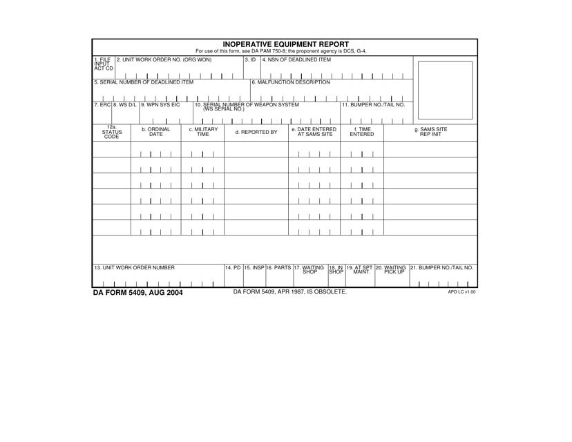 DA Form 5409  Fillable Pdf