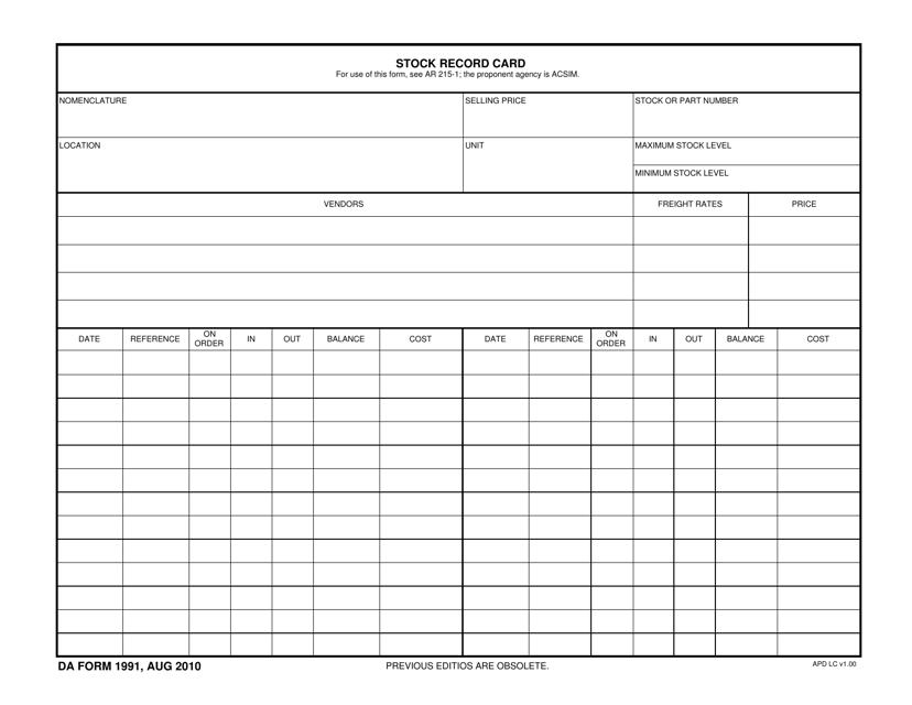 DA Form 1991  Printable Pdf