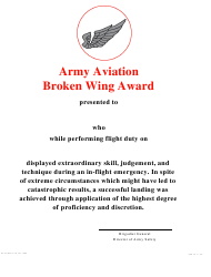 DA Form 5778 Army Aviation Broken Wing Award