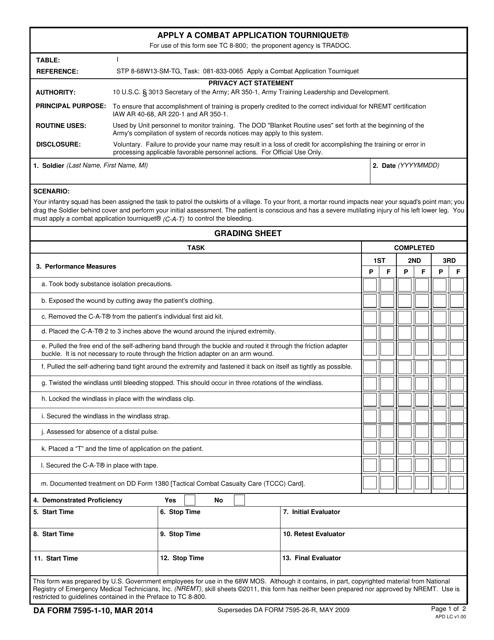 DA Form 7595-1-10 Printable Pdf