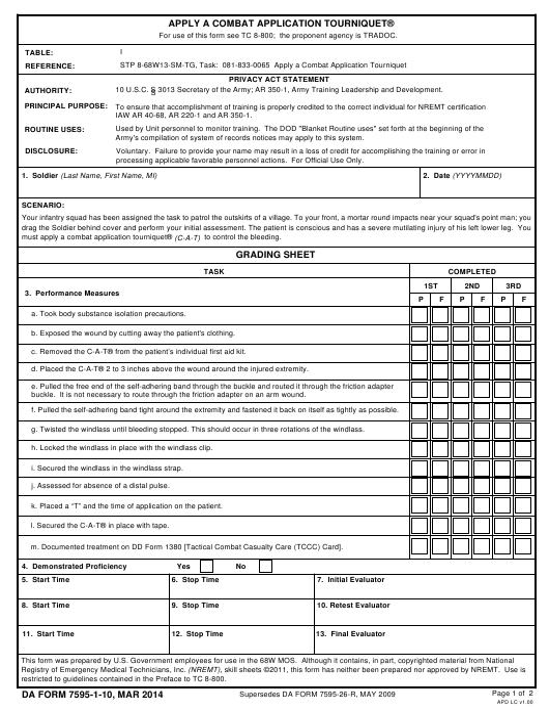 DA Form 7595-1-10  Fillable Pdf