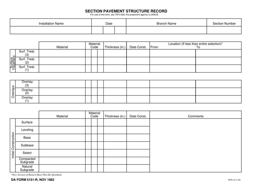 DA Form 5151-r Download Fillable PDF, Section Pavement