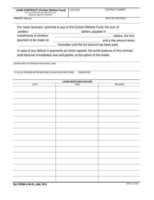 DA Form 4140-r Fillable Pdf