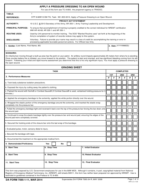 DA Form 7595-1-11 Fillable Pdf