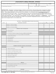DA Form 5441-9 Evaluation of Clinical Privileges - Podiatry