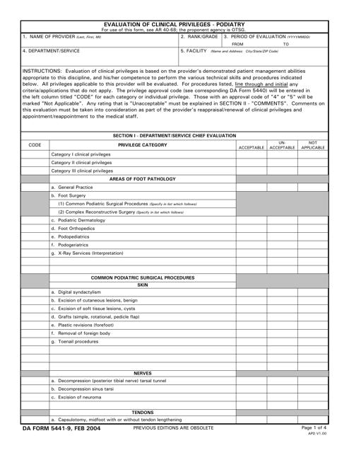 DA Form 5441-9 Printable Pdf