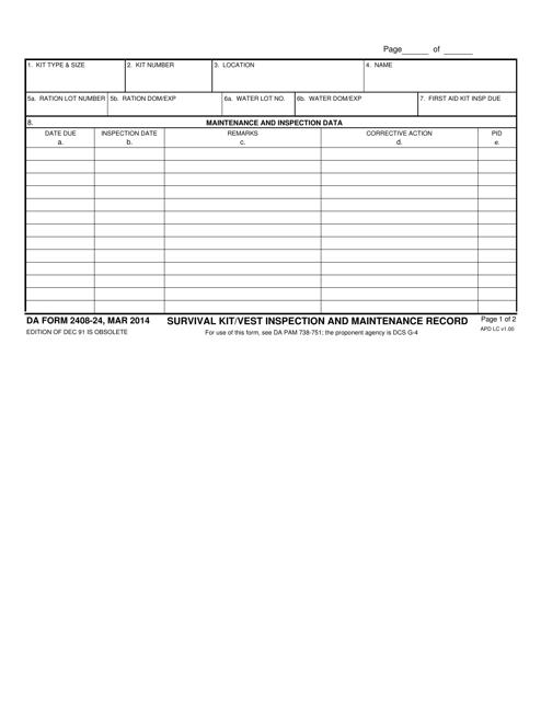 DA Form 2408-24 Printable Pdf