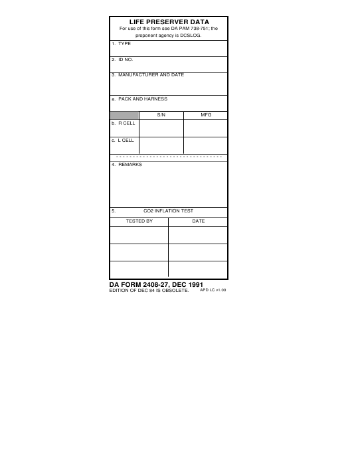 DA Form 2408-27 Fillable Pdf