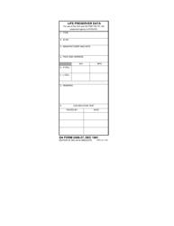 DA Form 2408-27 Life Preserver Data