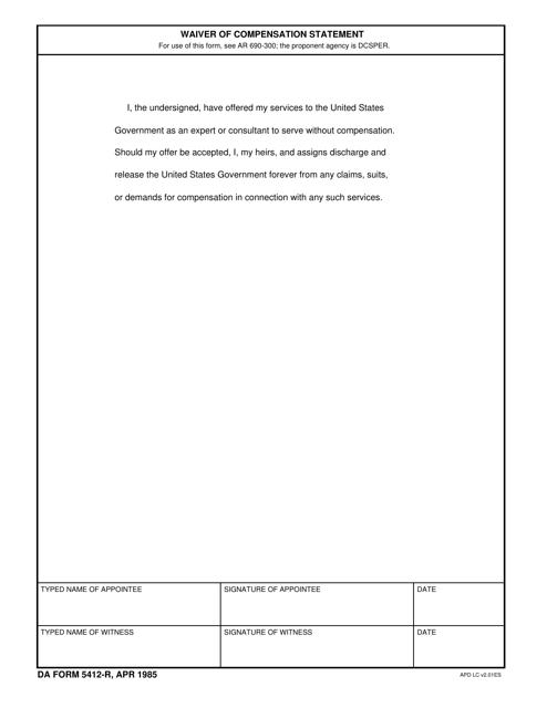 DA Form 5412-r Printable Pdf