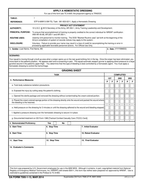 DA Form 7595-1-13  Printable Pdf