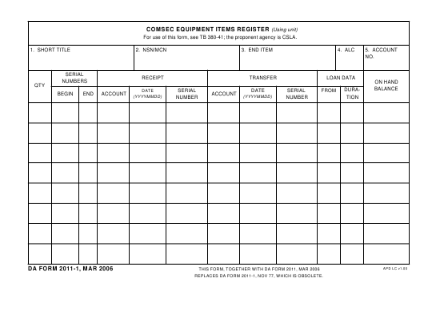 DA Form 2011-1  Fillable Pdf