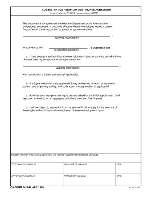 DA Form 5414-r Printable Pdf