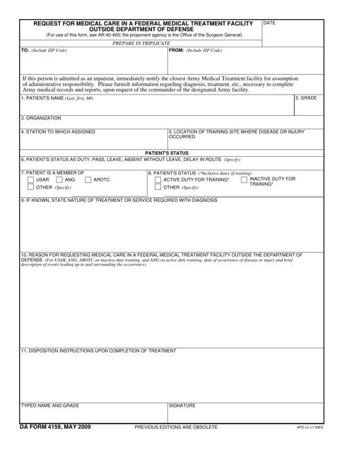 DA Form 4159 Printable Pdf
