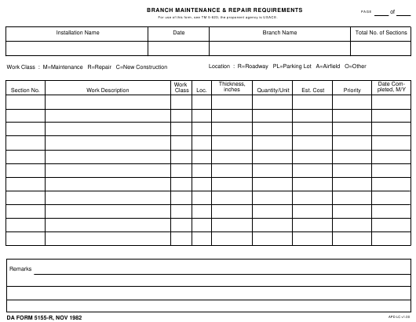 DA Form 5155-r Fillable Pdf