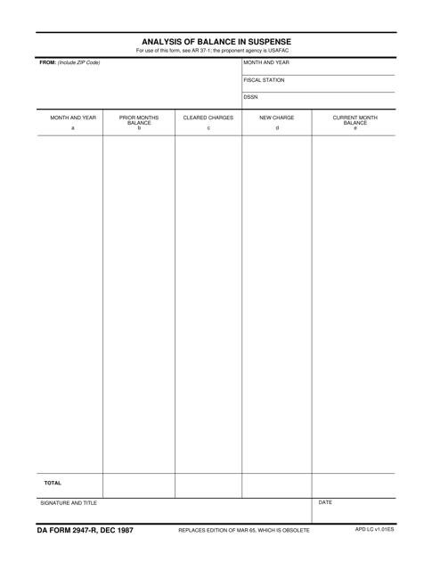 DA Form 2947-r Fillable Pdf