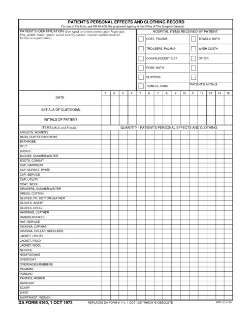 DA Form 4160 Fillable Pdf