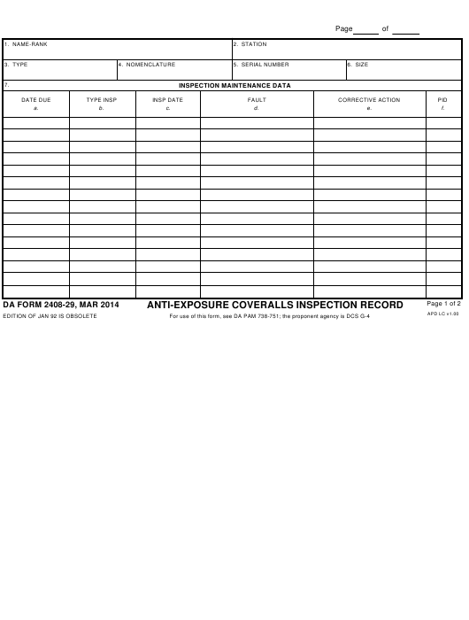 DA Form 2408-29 Fillable Pdf