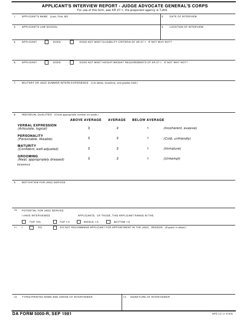 DA Form 5000-r  Printable Pdf