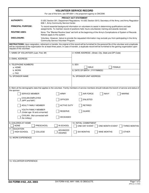 DA Form 4162  Printable Pdf