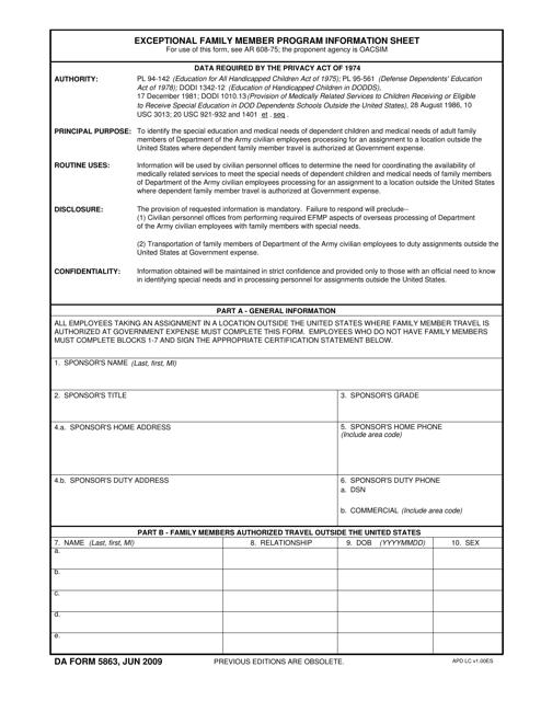DA Form 5863 Fillable Pdf