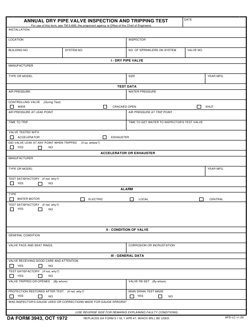 DA Form 3943 Fillable Pdf