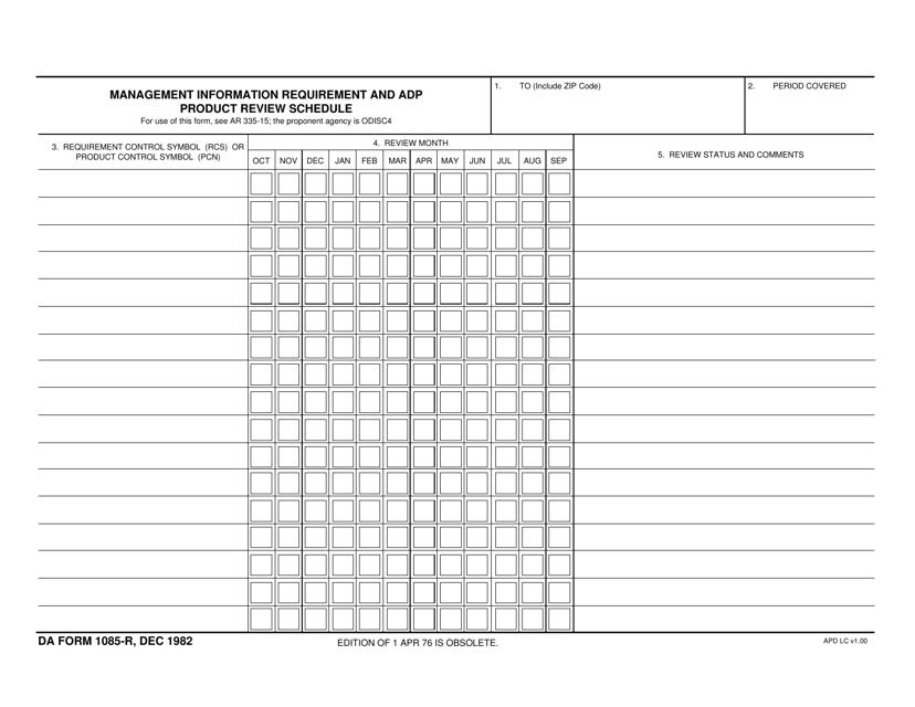 DA Form 1085-r Fillable Pdf