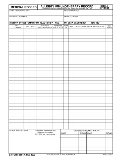 DA Form 5007a  Printable Pdf