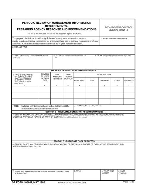 DA Form 1086-r  Printable Pdf