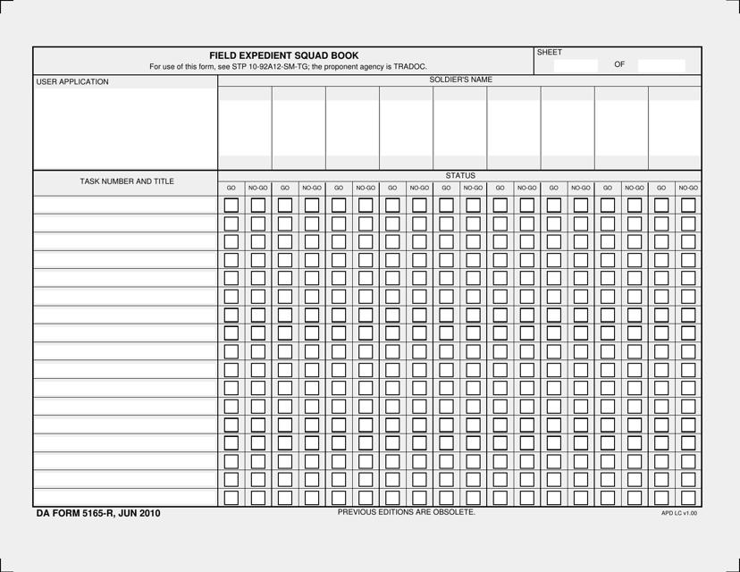 DA Form 5165-r  Printable Pdf