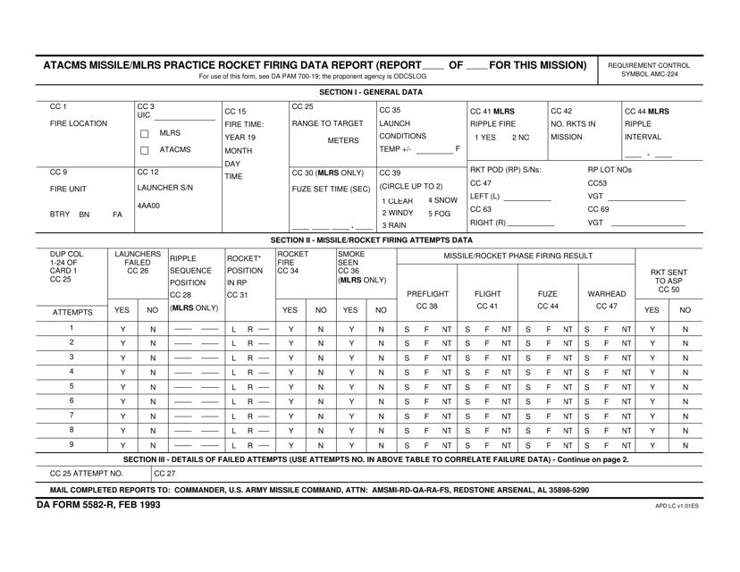 DA Form 5582-r  Printable Pdf