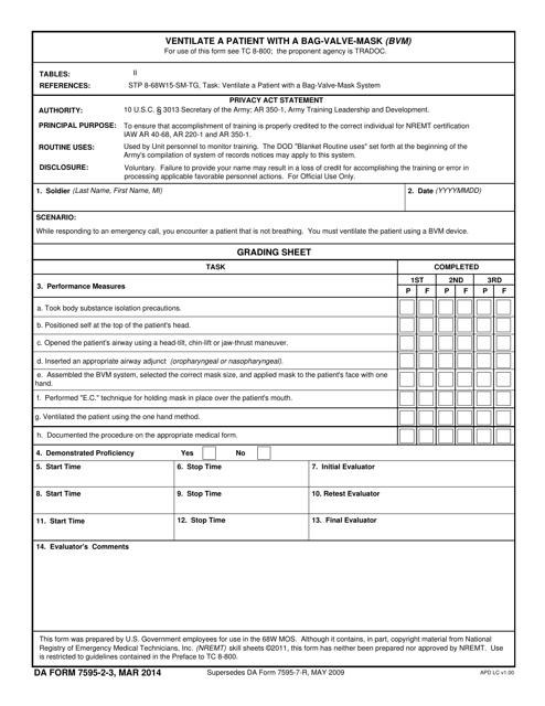 DA Form 7595-2-3  Printable Pdf