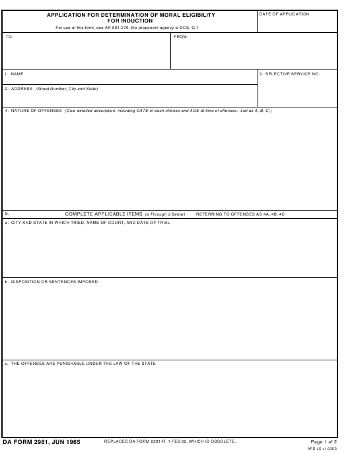 DA Form 2981 Fillable Pdf