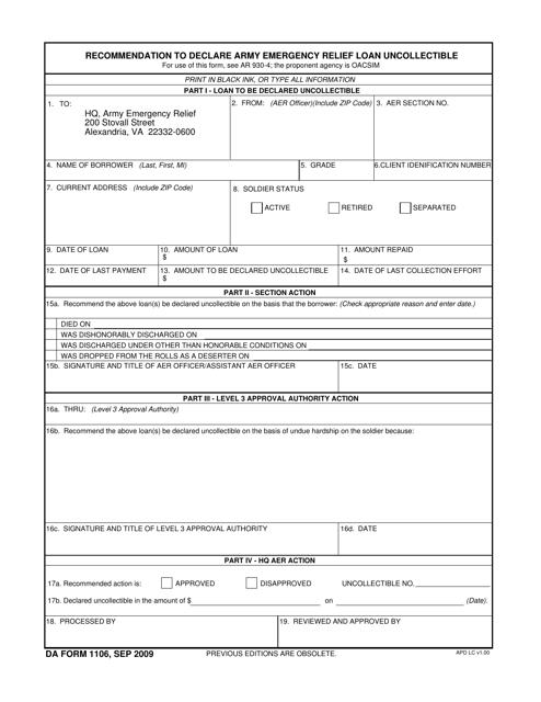 DA Form 1106 Fillable Pdf