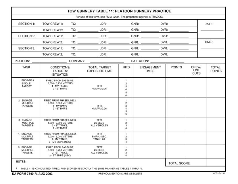 DA Form 7340-r  Printable Pdf