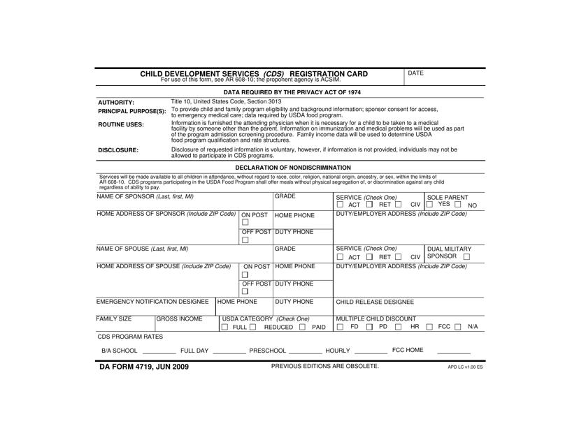 DA Form 4719 Fillable Pdf