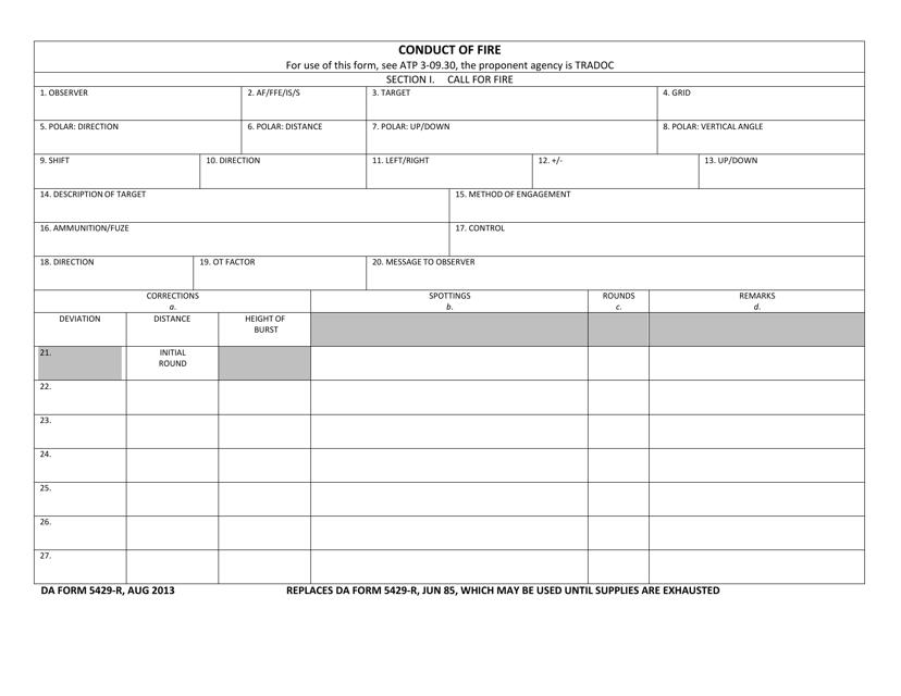 DA Form 5429-r  Printable Pdf
