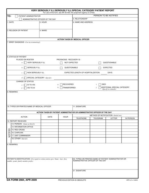 DA Form 2984  Printable Pdf