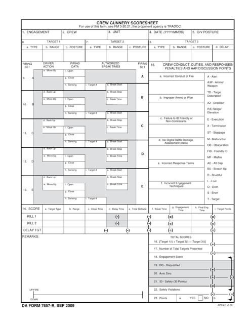 DA Form 7657-r Fillable Pdf
