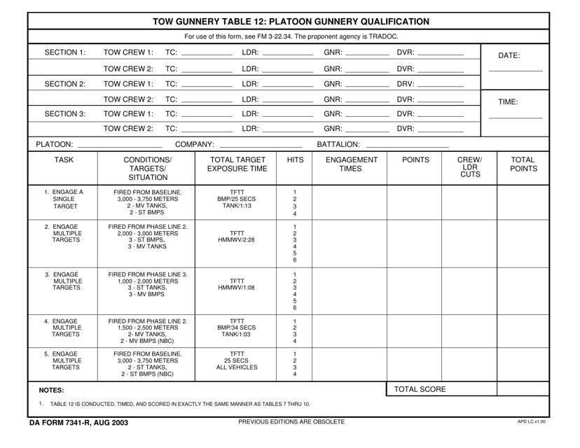 DA Form 7341-r Printable Pdf
