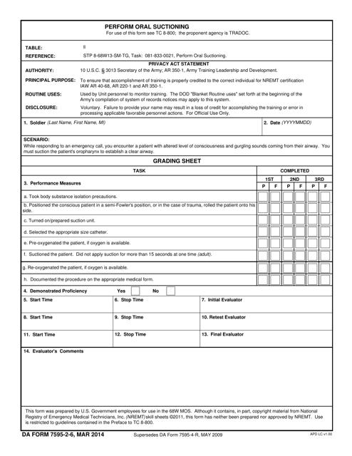 DA Form 7595-2-6  Printable Pdf