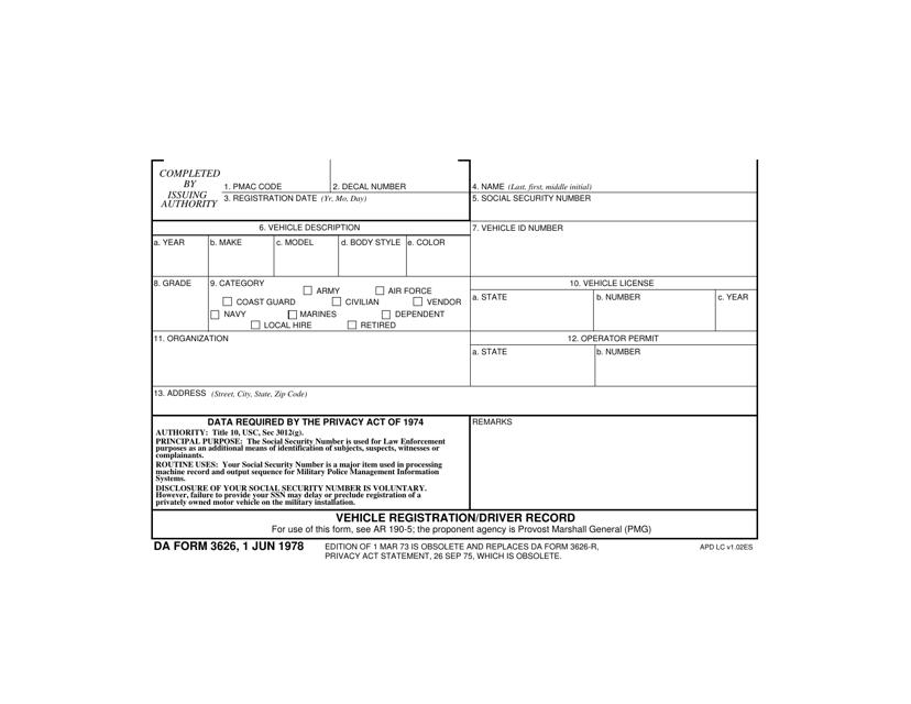 DA Form 3626 Download Fillable PDF, Vehicle Registration