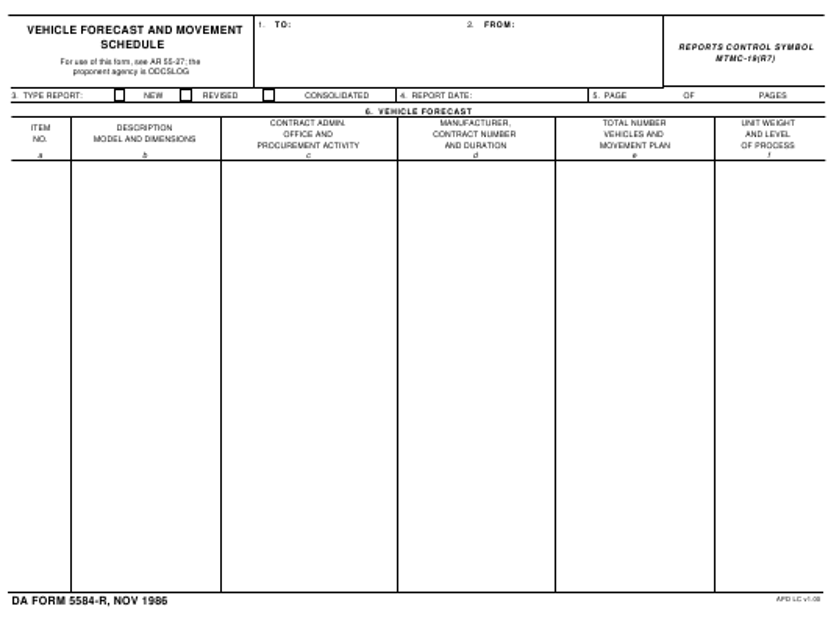 DA Form 5584-R Fillable Pdf