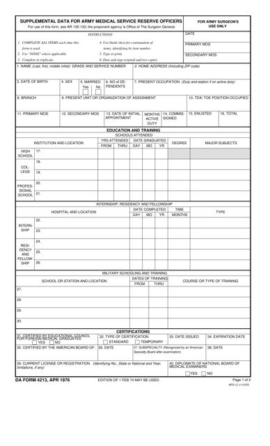 DA Form 4213 Fillable Pdf