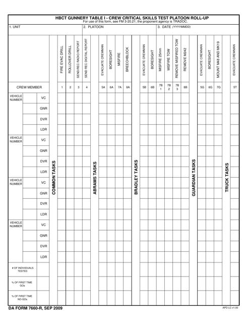 DA Form 7660-R Fillable Pdf