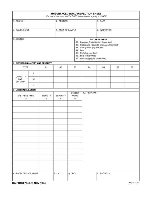 DA Form 7348-R Fillable Pdf